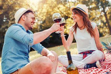 Samen picknicken in het bos